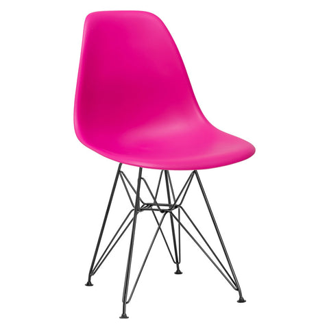 EdgeMod EM-104-BLK-FUS-X2 Padget Side Chair in Black / Fuchsia (Set of 2)