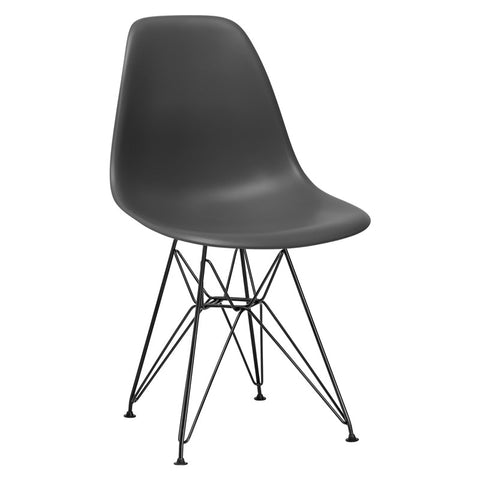 EdgeMod EM-104-BLK-GRY-X2 Padget Side Chair in Black / Grey (Set of 2)