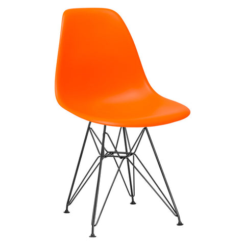 EdgeMod EM-104-BLK-ORA-X2 Padget Side Chair in Black / Orange (Set of 2)
