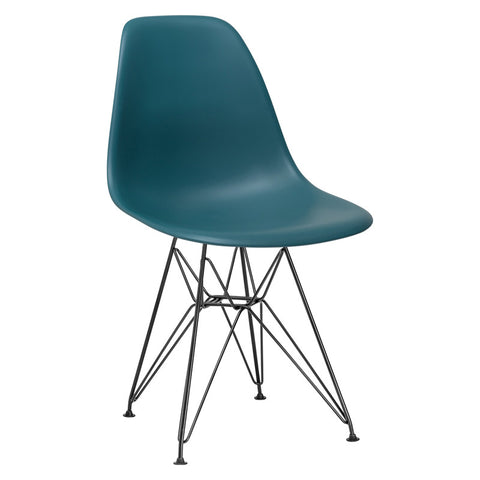 EdgeMod EM-104-BLK-TEA-X2 Padget Side Chair in Black / Teal (Set of 2)