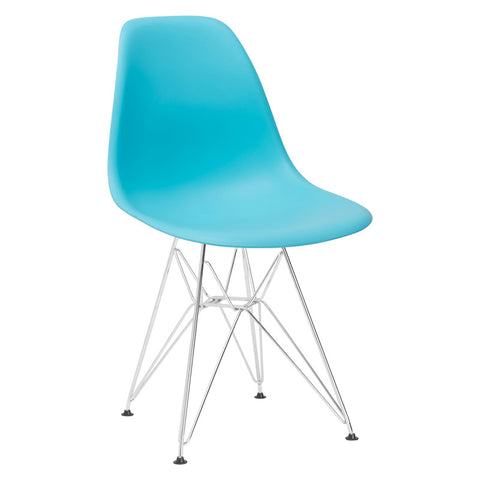 EdgeMod EM-104-CRM-AQU Padget Side Chair in Aqua