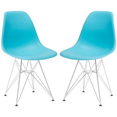 EdgeMod EM-104-CRM-AQU-X2 Padget Side Chair in Aqua (Set of 2)