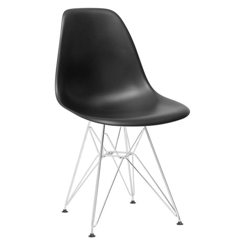 EdgeMod EM-104-CRM-BLK Padget Side Chair in Black