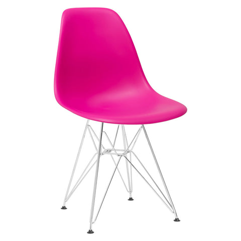 EdgeMod EM-104-CRM-FUS Padget Side Chair in Fuchsia