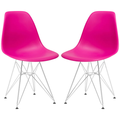EdgeMod EM-104-CRM-FUS-X2 Padget Side Chair in Fuchsia (Set of 2)
