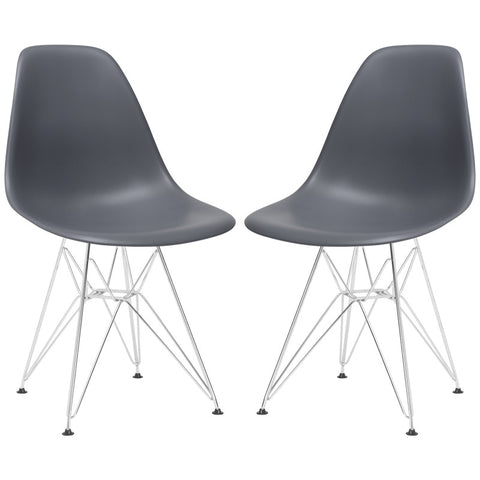 EdgeMod EM-104-CRM-GRY-X2 Padget Side Chair in Grey (Set of 2)