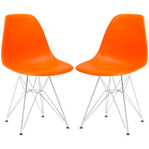 EdgeMod EM-104-CRM-ORA-X2 Padget Side Chair in Orange (Set of 2)