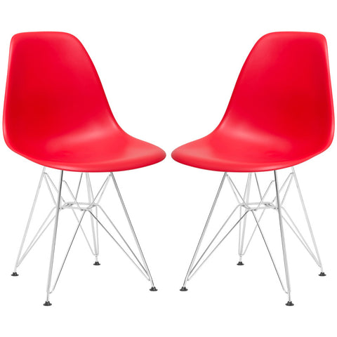 EdgeMod EM-104-CRM-RED-X2 Padget Side Chair in Red (Set of 2)