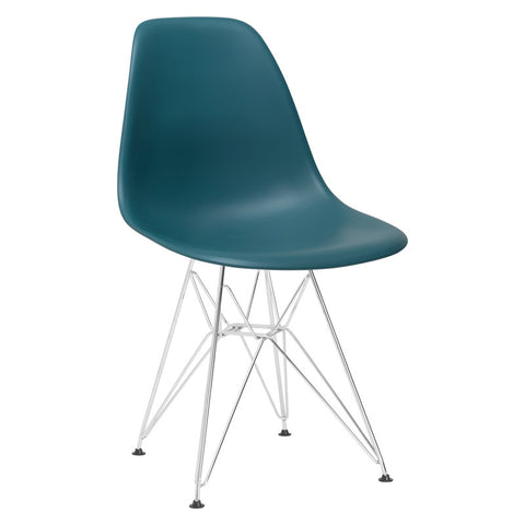 EdgeMod EM-104-CRM-TEA Padget Side Chair in Teal