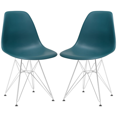 EdgeMod EM-104-CRM-TEA-X2 Padget Side Chair in Teal (Set of 2)