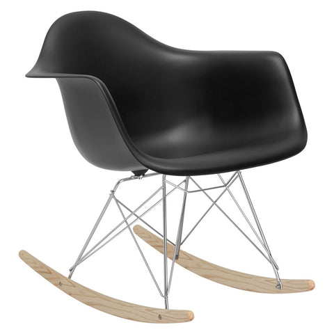 EdgeMod EM-121-BLK Rocker Lounge Chair in Black