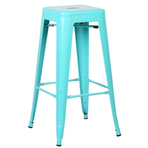 EdgeMod EM-126-AQU-X4 Trattoria Bar Stool in Aqua (Set of 4)
