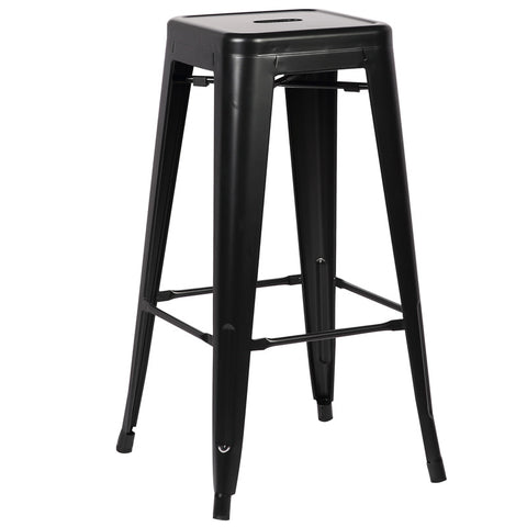 EdgeMod EM-126-BLK-X4 Trattoria Bar Stool in Black (Set of 4)