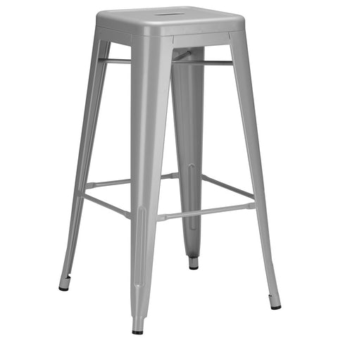 EdgeMod EM-126-GRY-X4 Trattoria Bar Stool in Grey (Set of 4)