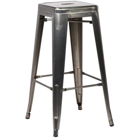 EdgeMod EM-126-POL-X4 Trattoria Bar Stool in Polished Gunmetal (Set of 4)