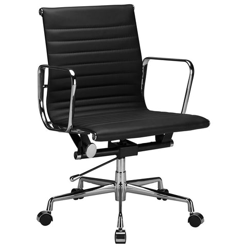 EdgeMod EM-160-BLK Ribbed Mid Back Office Chair with Italian Leather in Black