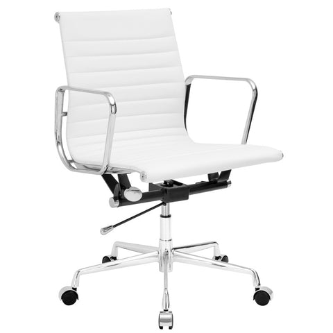 EdgeMod EM-160-WHI Ribbed Mid Back Office Chair with Italian Leather in White