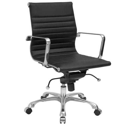 EdgeMod EM-161-BLK Ribbed Mid Back Office Chair in Black