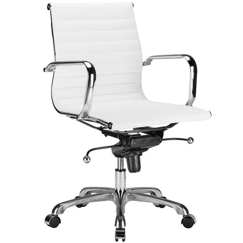 EdgeMod EM-161-WHI Ribbed Mid Back Office Chair in White