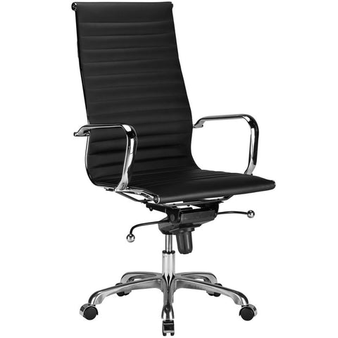 EdgeMod EM-182-BLK Ribbed High Back Office Chair in Black