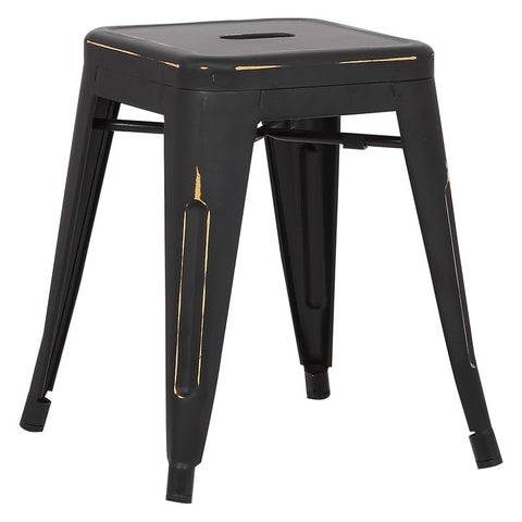 "EdgeMod EM-195-DIS-BLK-X4 Trattoria 18"" Stool in Distressed Black (Set of 4)"