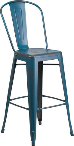 Flash Furniture ET-3534-30-KB-GG 30'' High Distressed Kelly Blue Metal Indoor Barstool with Back - Peazz.com