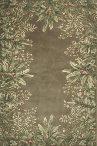 "KAS Rugs Emerald 9000 Taupe Tropical Border Hand-Tufted 100% Wool 5'3"" x 8'3"""