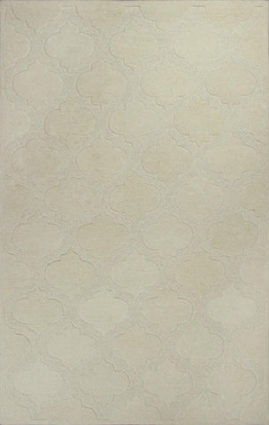 "KAS Rugs Eternity 1069 Ivory Arabesque Hand-Tufted 100% Multi-Textured Wool 3'3"" x 5'3"""
