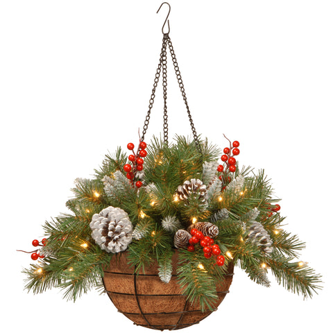 "National Tree FRB-20HLW-B1 20"" Frosted Berry Hanging Basket with Cones, Red Berries and 50 Warm White LED Battery Operated Lights with Timer"