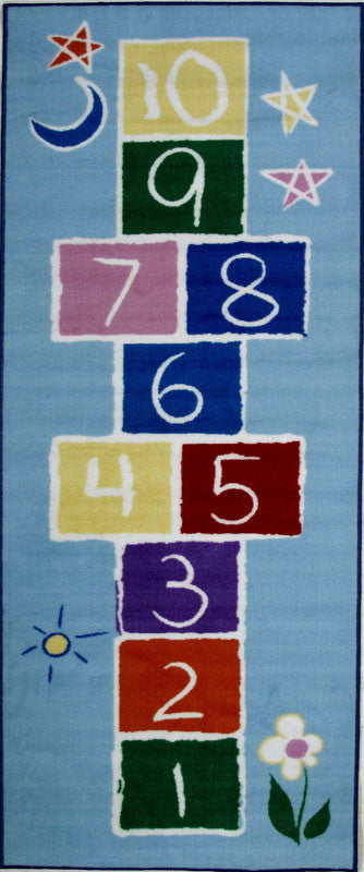 Fun Rugs FT-191 3078 Fun Time Collection Primary Hopscotch Multi-Color - 30 x 78 in. FRU-FT-191 3078