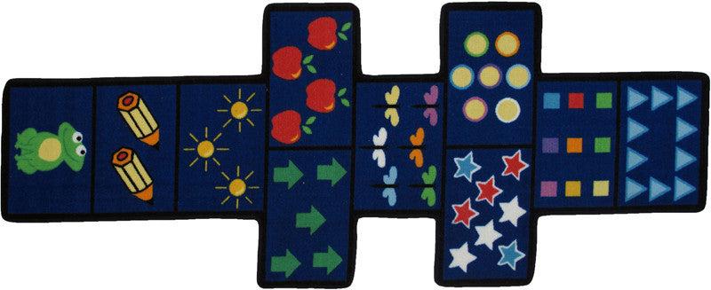 Fun Rugs FTS-168 3078 Fun Time Shape Collection Hopscotch w/Counters Multi-Color - 30 x 78 in.