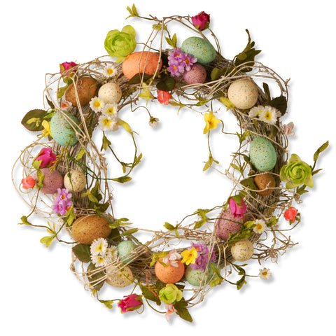 "National Tree GAE30-18WEF Garden Accents 18"" Easter Wreath with Eggs, Flowers & Twigs"