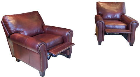 Element Home Furnishing GAR-2PC-RC-RC-SIEN-1 Garret 2-Piece Set Top Grain Leather Reclining Chairs in Sienna - Peazz.com