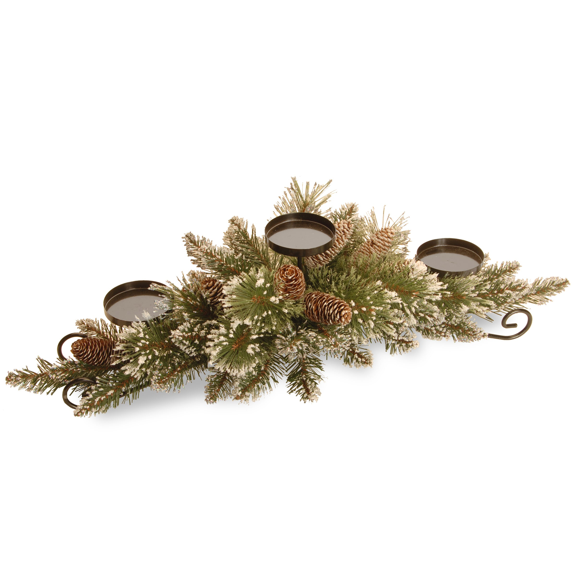 """National Tree GB3-810-30C-B 30"""" Glittery Bristle Pine Centerpiece w/3 Candle Holders & 6 White Tipped Cones"""