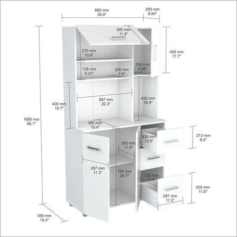 Inval America GCM-042 Laricina-White Finish Kitchen Storage Cabinet - Peazz.com - 1