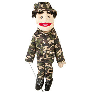 "28"" Army Boy Puppet w/ Brown Eyes"