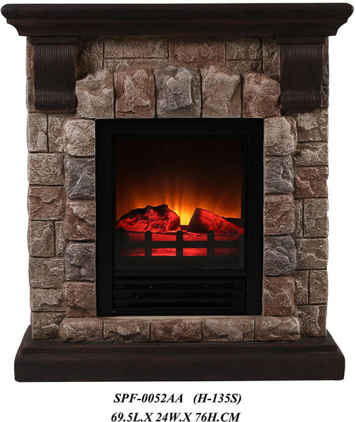 ok lighting h 135s portable fireplace with faux stone. Black Bedroom Furniture Sets. Home Design Ideas