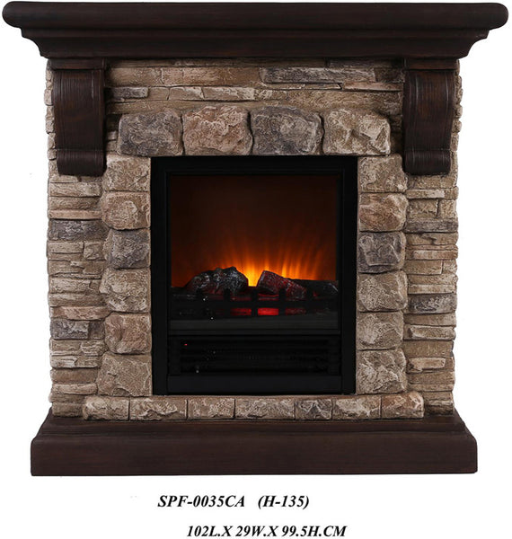 ok lighting h 135 portable fireplace with faux stone dark. Black Bedroom Furniture Sets. Home Design Ideas