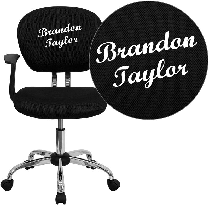 Flash Furniture H-2376-F-BK-ARMS-TXTEMB-GG Personalized Mid-Back Black Mesh Swivel Task Chair with Chrome Base and Arms