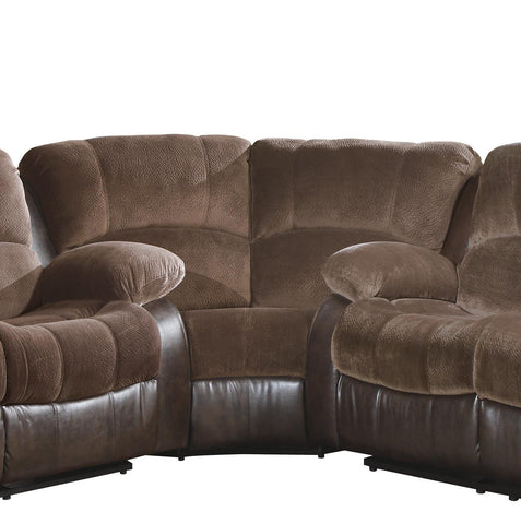 Homelegance 9700FCP-C Cranley Collection Color Chocolate Textured Plush Microfiber And Dark Brown Bi-Cast Vinyl