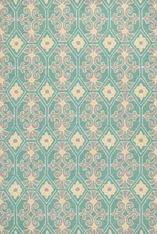 "KAS Rugs Harbor 4215 Aqua Empire Hand-Made 100% UV Treated Polypropelene Hooked for Indoor/Outdoor Living 3'3"" x 5'3"""