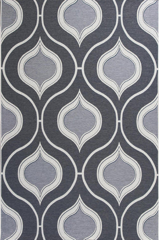 "KAS Rugs Horizon 5728 Slate Groove Machine-Made 100% UV-Treated Polypropelene Flatweave for Indoor/Outdoor Living 3'4"" x 4'11"""