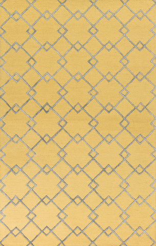 "KAS Rugs Impressions 4613 Gold/Grey  Courtyard Hand-Tufted Wool & Viscose Textured Pile 2'3"" x 7'6"" Runner"