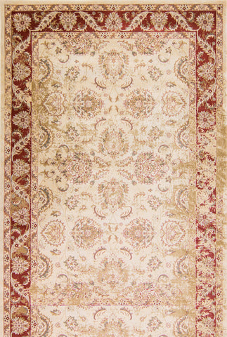 "KAS Rugs Jasmine 3759 Ivory/Red Traditions Machine-Woven 100% Polypropelene 3'3"" x 5'3"""