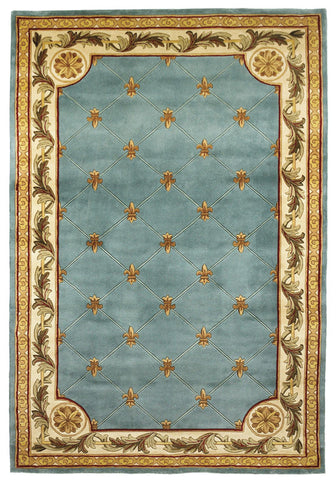 "KAS Rugs Jewel 0305 Wedgewood Blue Fleur-De-Lis Hand-Tufted 100% Wool 5'3"" x 8'3"""