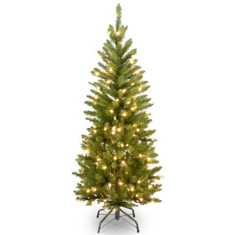 National Tree KW7-300-45 4 1/2' Kingswood Fir Hinged Pencil Tree with 150 Clear Lights