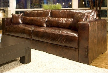 Element Home Furnishing LAG-S-SADD-1-NH001 Laguna Top Grain Leather Sofa in Saddle - Peazz.com