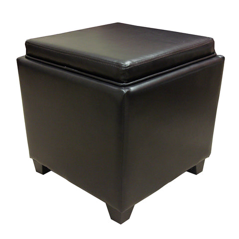 Armen Living LC530OTLEBR Rainbow Contemporary Storage Ottoman With Tray in Brown Bonded Leather