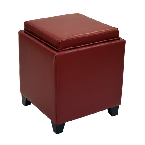 Armen Living LC530OTLERE Rainbow Contemporary Storage Ottoman With Tray in Red Bonded Leather