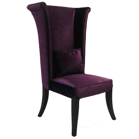 Armen Living LC847SIPU Mad Hatter Dining Chair In Purple Rich Velvet